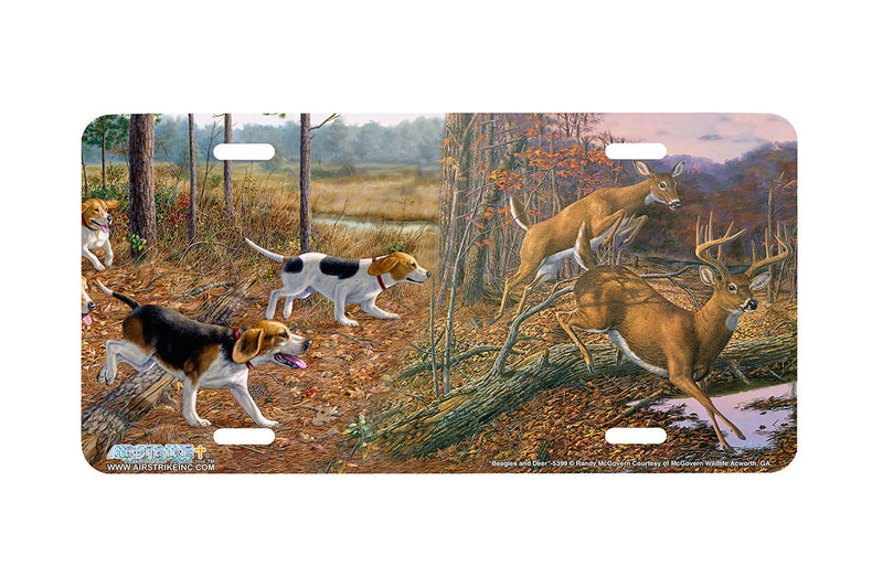 "Airstrike® 5399-""Beagles and Deer"" Beagle Hunting License Plate"