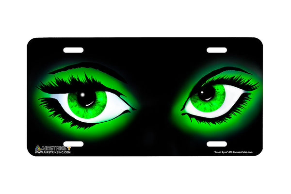 "Airstrike® 373-""Green Eyes"" Airbrushed License Plate"