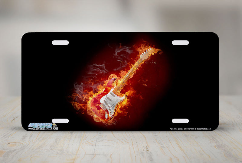 "Airstrike® 535-""Electric Guitar on Fire""-Electric Guitar License Plate"
