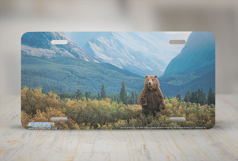 "Airstrike® 8221-""As Far as the Eye Can See""-Grizzly Bear License Plate"