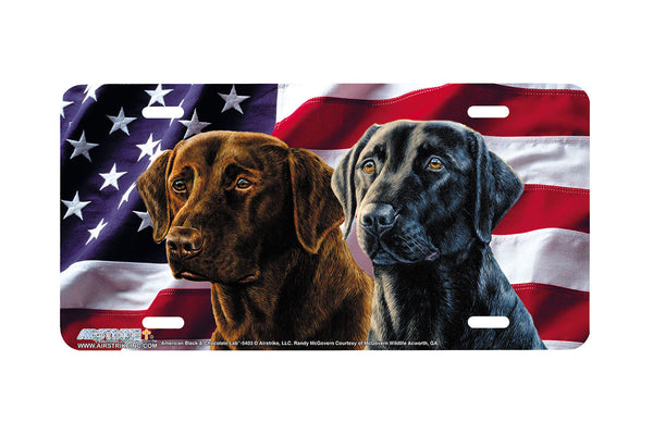 "Airstrike® 5403-""American Black and Chocolate Lab"" Lab Dog License Plate"