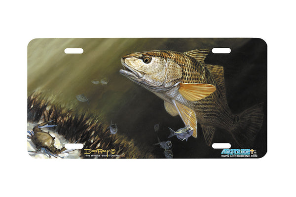 "Airstrike® Redfish License Plate 5021-""Red and Blue"" License Plate"