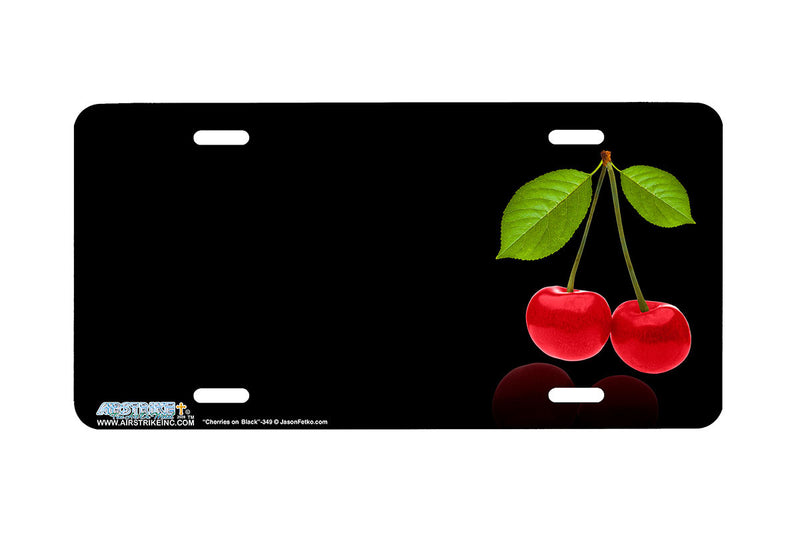 "Airstrike® 349-""Cherries on Black"" Cherries Airbrushed License Plates"