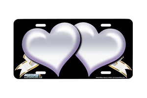 "Airstrike® 347-""White Ribbon Hearts on Black"" Heart Airbrushed License Plates"