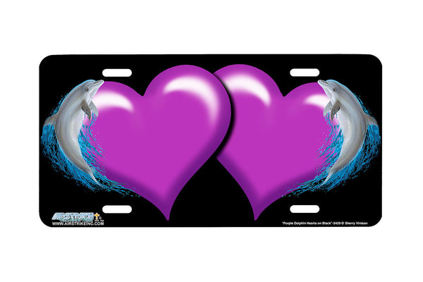 "Airstrike® Hearts License Plate 3429-""Purple Dolphin Hearts on Black"" Dolphin Heart Airbrushed License Plates"
