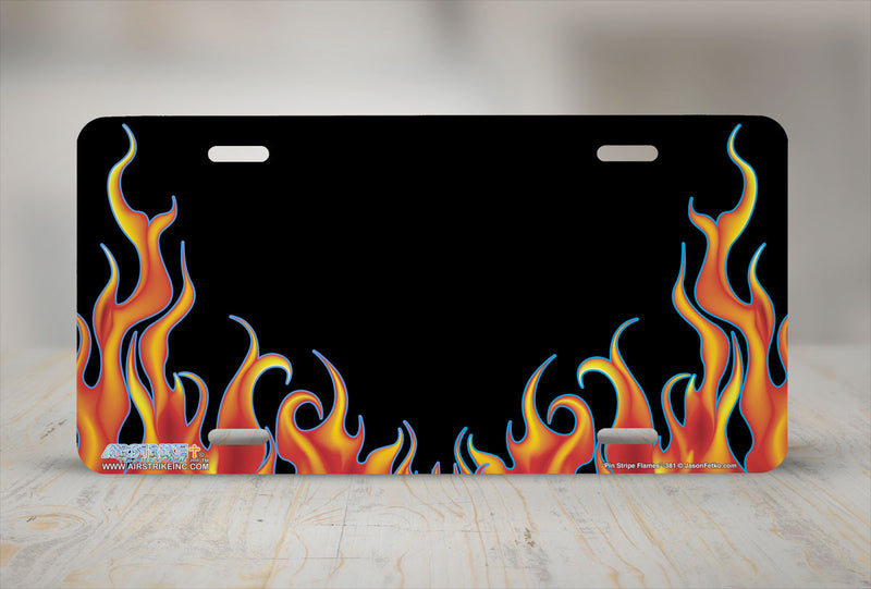 "Airstrike® 381-""Pin Stripe Flames"" Fire License Plates"