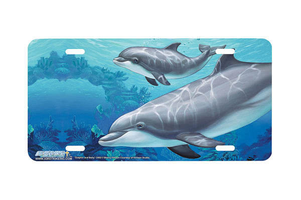 "Airstrike® Dolphin License Plate 3403-""Dolphin and Baby"" Dolphins License Plate"