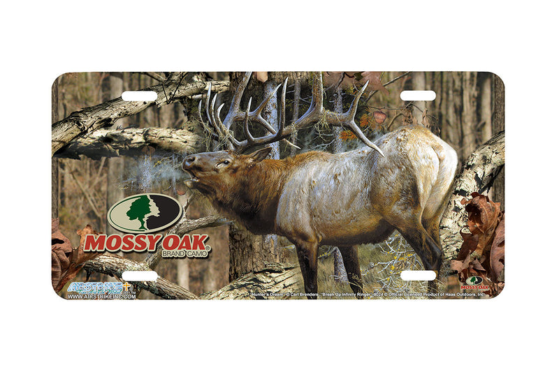 "Airstrike® Mossy Oak License Plate 8024-""Break Up Infinity Ringer with Hunters Dream""-Mossy Oak Camo Elk License Plate"