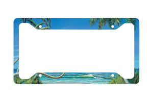Airstrike® Beach License Plate Frame, Beach Car Tag Frame, Beach License Plate Holder, Ocean Palm Trees Beach License Plate Frame-30-3409