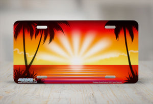 "Airstrike® Beach License Plate 318-""Caribbean Sunset Sunburst"" Beach Scene Airbrushed License Plate"
