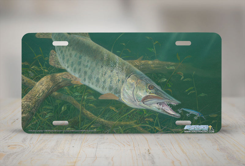 "Airstrike® Fishing License Plates 5386-""A Muskie Lunging"" Muskie Fish License Plate"