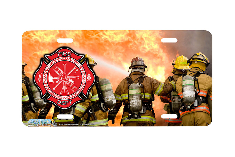 "Airstrike® Firefighter License Plate 425-""Firemen in Action"" Firefighter License Plates"
