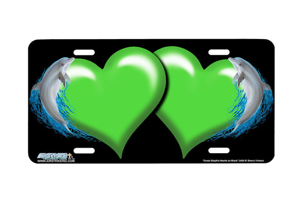 "Airstrike® Hearts License Plate 3430-""Green Dolphin Hearts on Black"" Dolphin Heart Airbrushed License Plates"