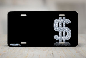 "Airstrike® 351-""Bling Dollar Sign"" Dollar Sign Airbrushed License Plates"