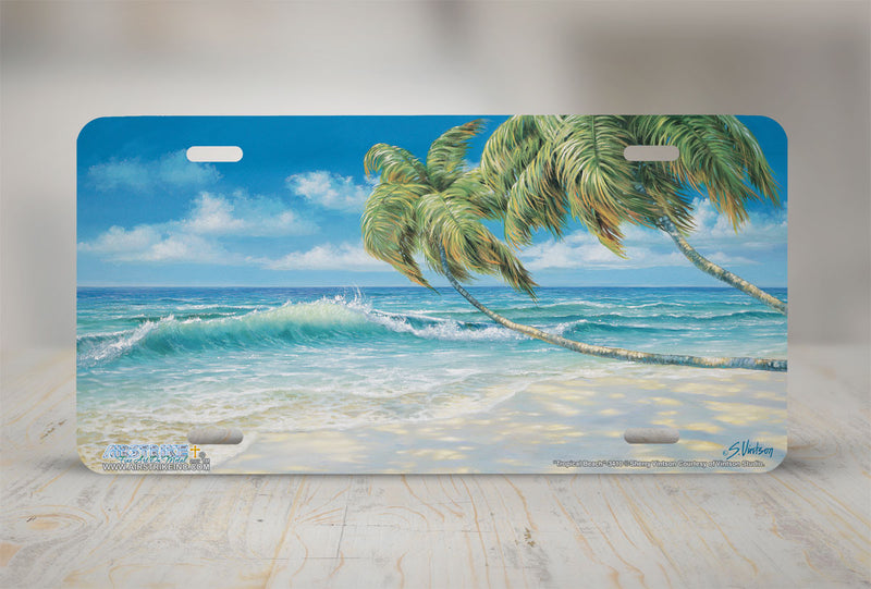 "Airstrike® Beach License Plate 3410-""Tropical Beach"" Beach Scene License Plate s"