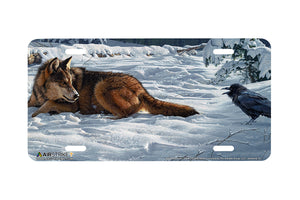 "Airstrike® Wolf License Plate 8304-""Raven Rhetoric""-Wolf and Raven License Plate"