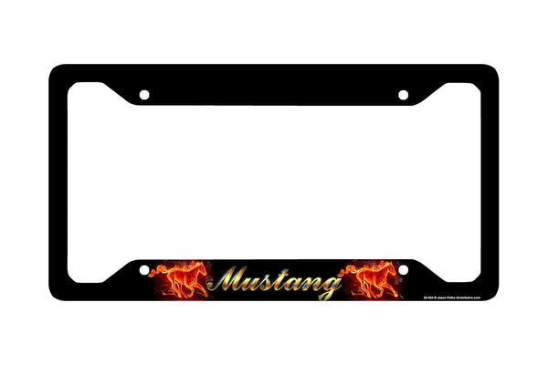 Airstrike® Mustang License Plate Frame, Mustang Car Tag Frame, Mustang License Plate Holder, Running Horse Decorative License Plate Frame-30-464