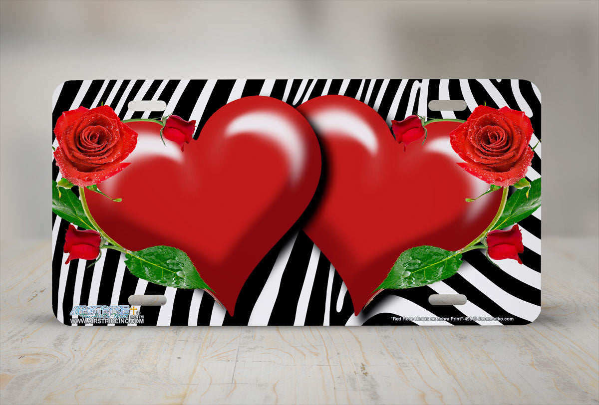Airstrike 498 Red Rose Hearts On Zebra Print Airstrike