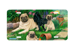 "Airstrike® 5344-""The Gardeners"" Pug Dog License Plate"