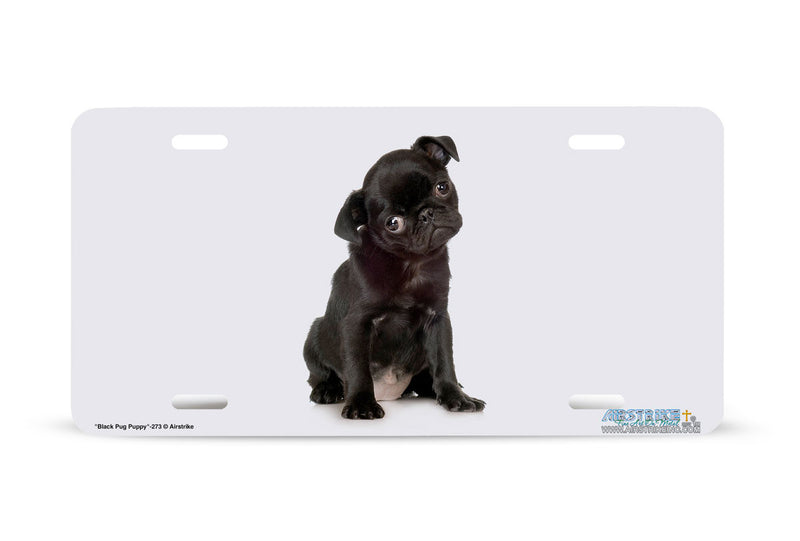 "Airstrike® 273-""Black Pug Puppy"" Pug Dog License Plates"