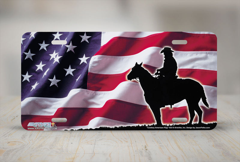 "Airstrike® 433-""Cowboy American Flag"" Horse Airbrushed License Plates"