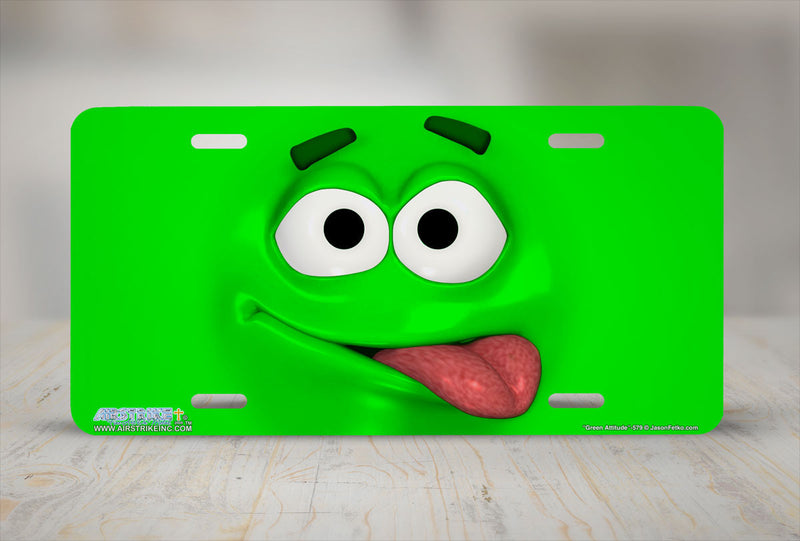 "Airstrike® 579-""Green Attitude"" Emoticon Face License Plate"