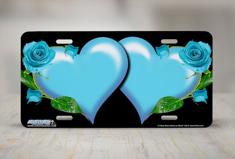 "Airstrike® 333-""Light Blue Rose Hearts on Black"" Heart Airbrushed License Plates"