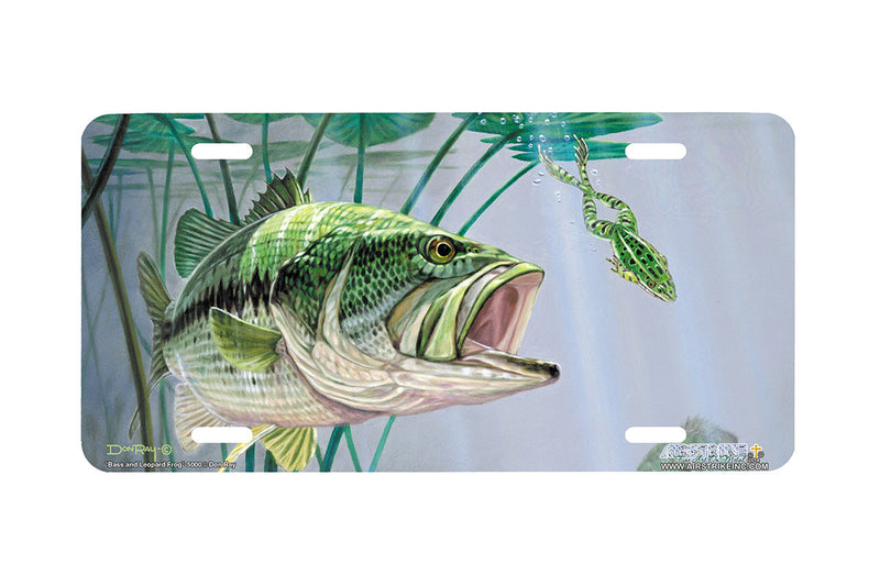 "Airstrike® Bass Fishing License Plates 5000-""Bass and Leopard Frog"" License Plate"