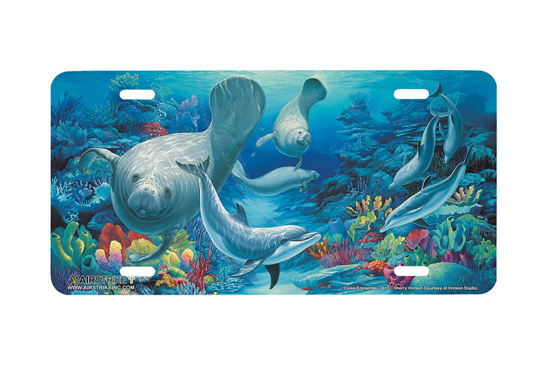 "Airstrike® Manatee License Plate 3413-""Close Encounter"" Manatee License Plate"