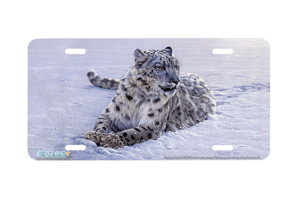 "Airstrike® 8257-""Snowy Repose""-Snow Leopard License Plate"