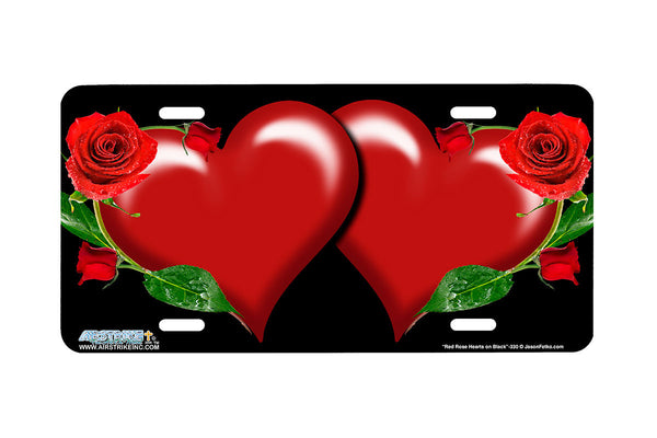 "Airstrike® 330-""Red Rose Hearts on Black"" Heart Airbrushed License Plates"