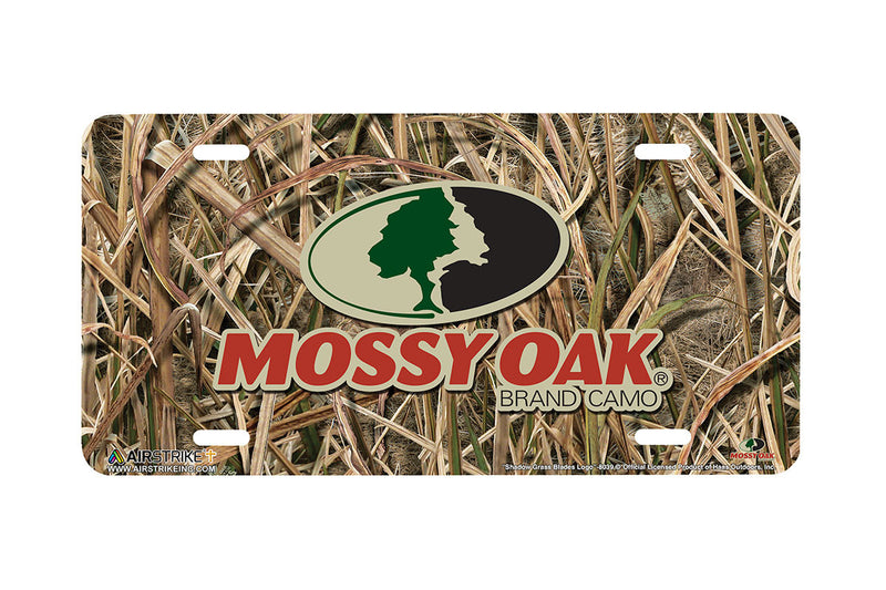 "Airstrike® Mossy Oak License Plate 8039-""Shadow Grass Blades Logo""-Mossy Oak Camo License Plate"