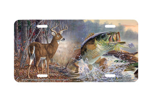 "Airstrike® 5394-""Deer and Bass"" Deer and Bass License Plate"