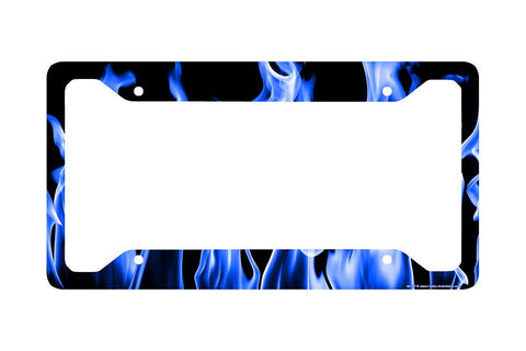 "Airstrike® Blue Fire License Plate Frame, Blue Fire License Plate Holder, Blue Fire Car Tag Frame ""Real Blue Flames""-30-377"