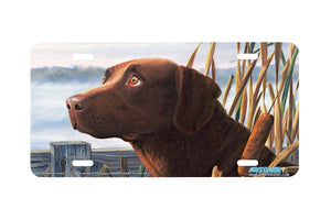 "Airstrike® 5311-""Foul Weather Friend"" Chocolate Labrador Dog License Plate"