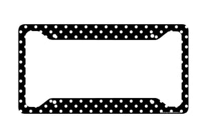 Airstrike® Polka Dots License Plate Frame, Black Polka Dots Car Tag Frame, Polka Dots License Plate Holder, Cute License Plate Frame-30-370