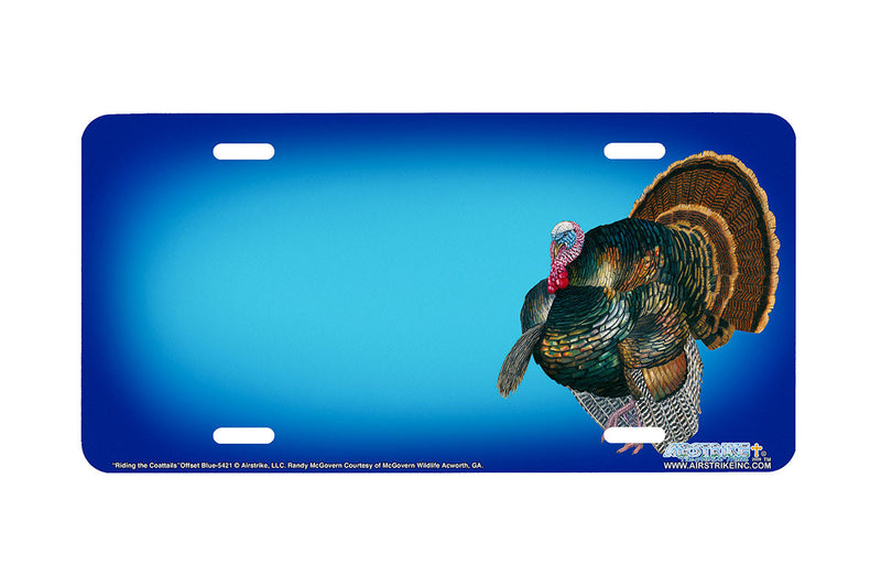 "Airstrike® 5421-""Riding the Coattails""-Offset Blue Turkey License Plate"