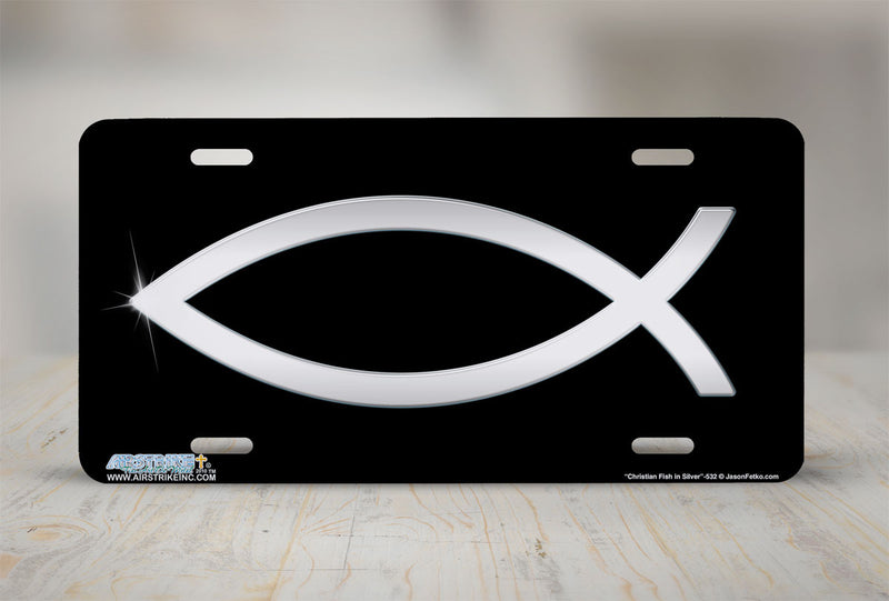 "Airstrike® Christian License Plate 532-""Christian Fish in Silver""-Christian License Plate"