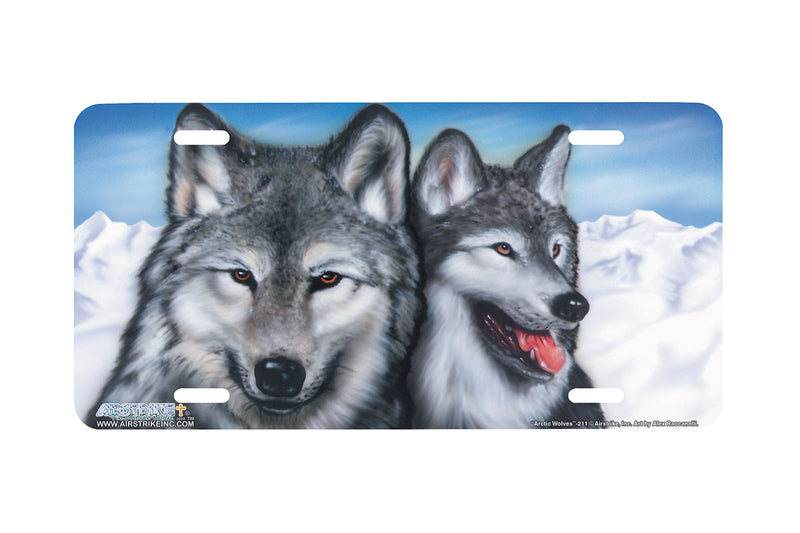 "Airstrike® Wolf License Plate 211-""Arctic Wolves"" License Plate"