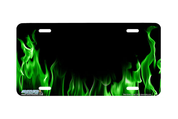 "Airstrike® 379-""Real Green Flames"" Fire License Plates"