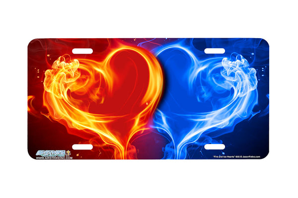 Airstrike® Red Blue Hearts License Plate, Fire and Ice Heart Decorative License Plate-655
