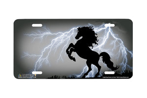 "Airstrike® 358-""Lightning Horse on Gray"" Rearing Horse Airbrushed License Plates"