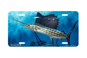 "Airstrike® Fishing License Plates 5057-""Circling the Bait""-Sailfish License Plate"