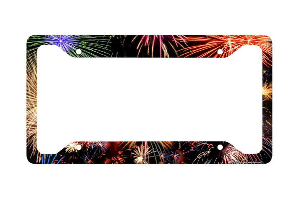 Airstrike® Fireworks License Plate Frame, Fireworks Car Tag Frame, Bursting Sparks License Plate Holder, Cute License Plate Frame-30-726