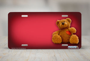 "Airstrike® 316-""Teddy Bear on Red"" Teddy Bear Airbrushed License Plates"