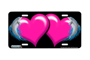 "Airstrike® Hearts License Plate 3428-""Pink Dolphin Hearts on Black"" Dolphin Heart Airbrushed License Plates"