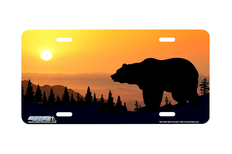 "Airstrike® 382-""Mountain Bear Sunrise"" Bear License Plate"