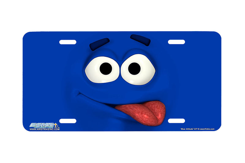 "Airstrike® 577-""Blue Attitude"" Emoticon Face License Plate"