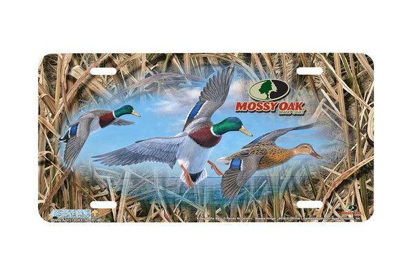 "Airstrike® Mossy Oak License Plate 8038-""Blades Ringer and Day at the Bay""-Mossy Oak Camo Duck License Plate"