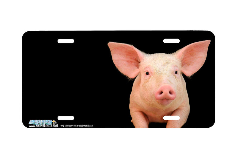 "Airstrike® 385-""Pig on Black"" Pig License Plates"